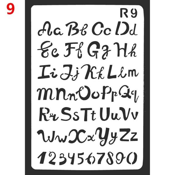 Layering Stencils Letter Alfabetet väggmålning 9