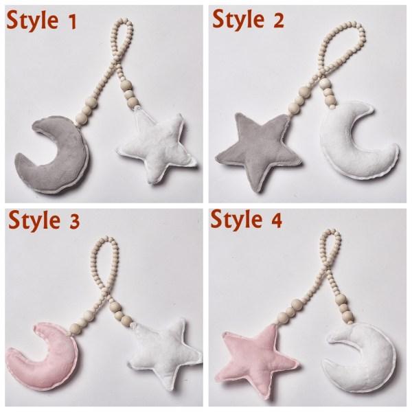 Nordic Wood Beads Ornament Star Moon Tassel STIL 1