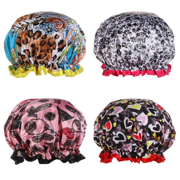 Reusable Shower Caps Shower Cap for Women SET 4