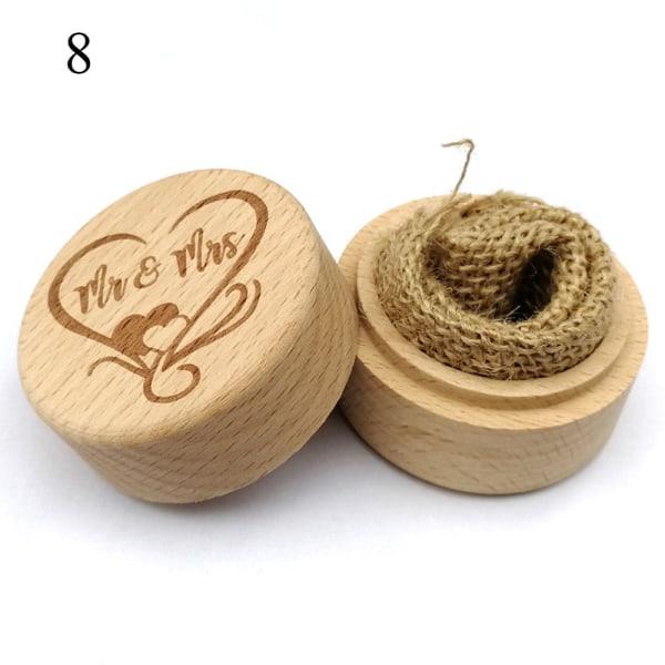 Trä Ring Box smyckeshållare fodral 8