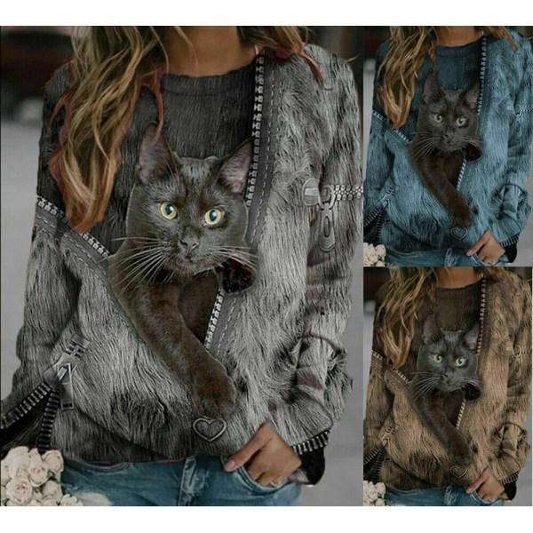 Kvinnors katt T-shirtblus långärmad tröja