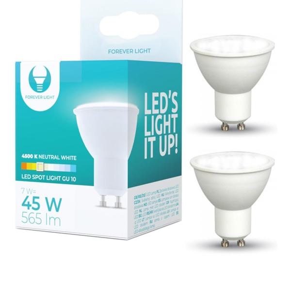 2-Pack LED-Lampa GU10, 7W 4500K, 565lm, Vit neutral Vit