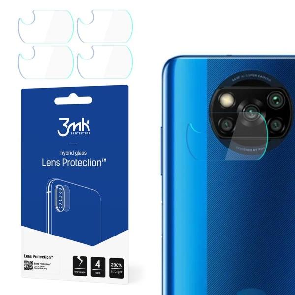 4-Pack 3MK FlexibleGlass Xiaomi POCO X3 Linsskydd Kamera Transparent