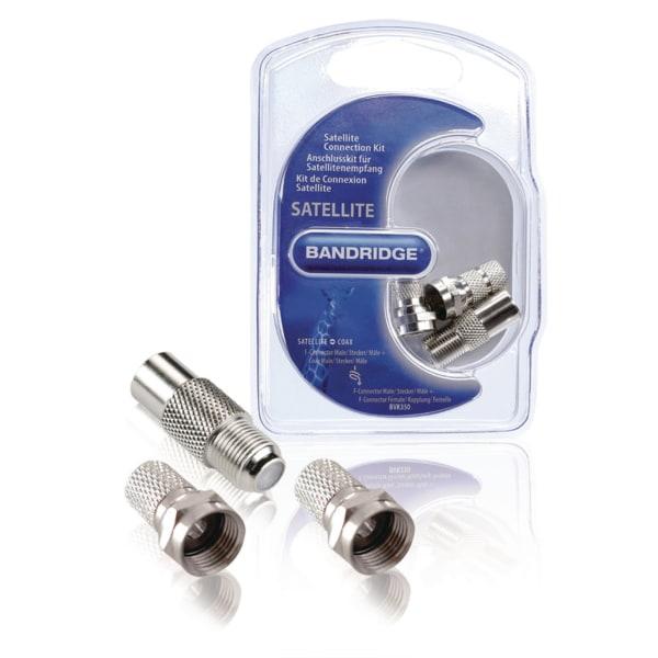 Antenn anslutningskit F-kontakt + koaxial hane /hona Silver