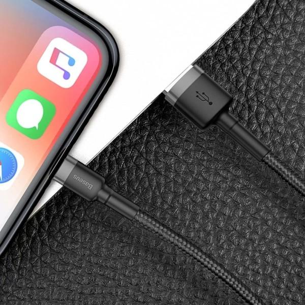 Baseus® 3 Meter QC 3.0 Laddare iPhone 11, XR, 11 Pro, XS, 8, 7 Svart