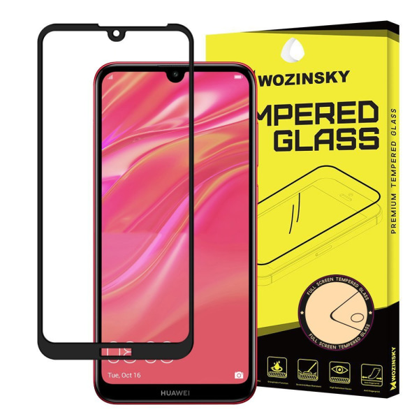 Huawei Y6 2019 Härdat Glas l CURVED [Full-Cover] Transparent