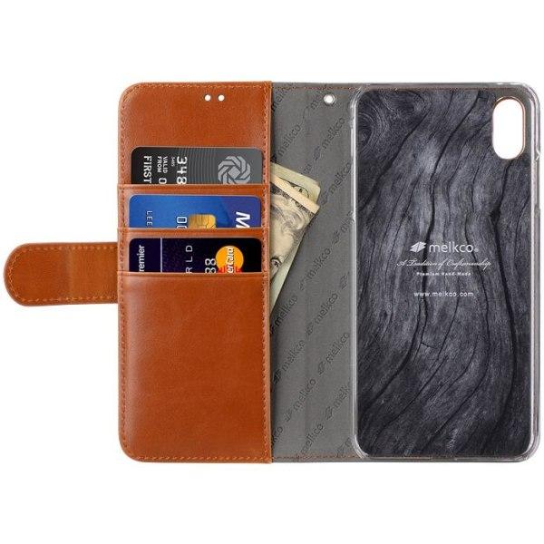 Melkco™ Wallet iPhone XS Max Plånboksfodral - Brun