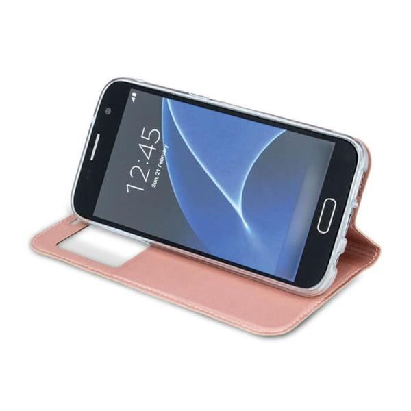 Samsung Galaxy A50 Smart Plånboksfodral Fönster - Rose Rosa guld