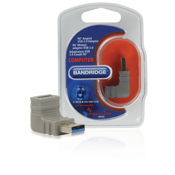 USB 3.0 adapter vinklad A / A grå