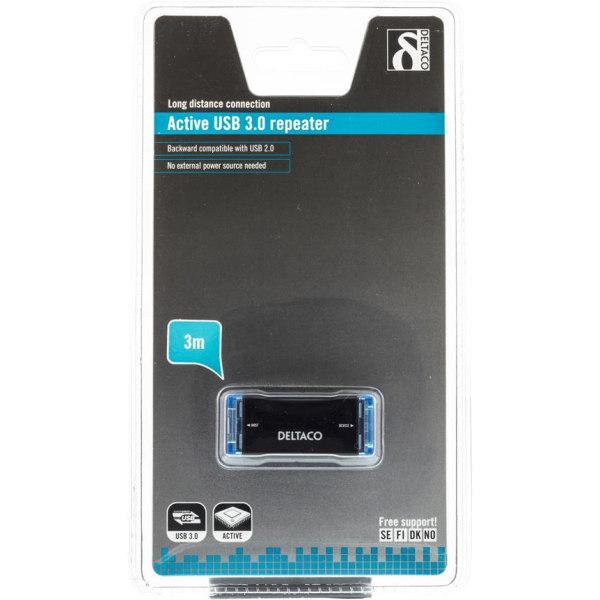 USB 3.0 kabel förlängning Aktiv - Max 3 meter Svart