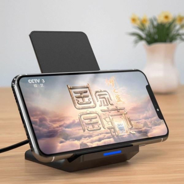 WK™ Trådlös QI Stand Laddare Snabbladdare iPhone/Samsung/LG Svart