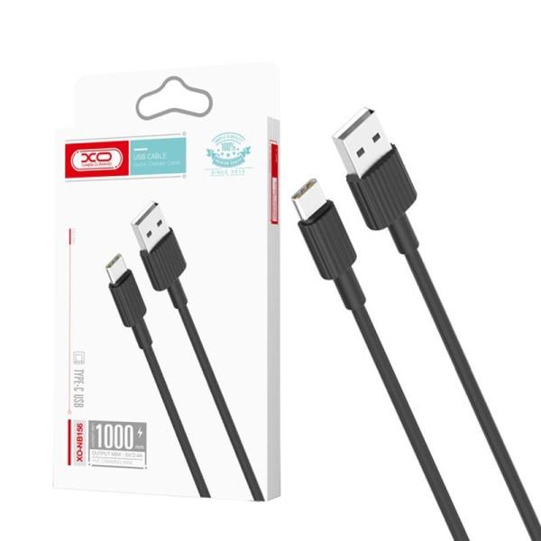 XO® 1m Hållbar USB-C Laddare Samsung/Sony/Huawei/OnePlus  Svart
