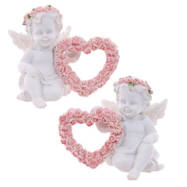 2 st änglar med rosa hjärtan vit