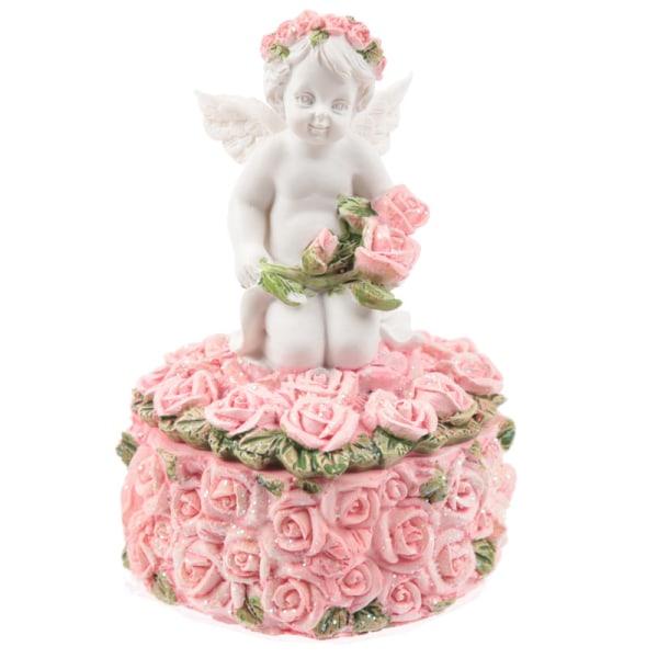 2 st Smyckeskrin - Vit ängel med hjärta och rosa rosor