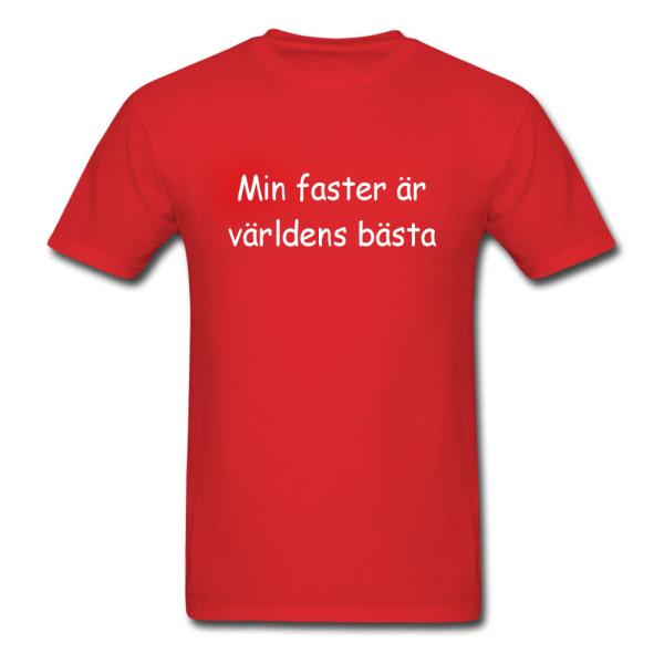 Barn T-shirt - Min faster är världens bästa, Röd 150-160 cl