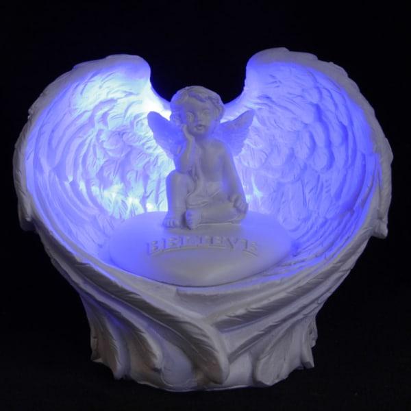Vit kerub i änglavingar med led lampa, Believe vit