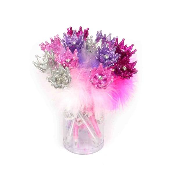 Penna med fluff och glittrig krona Lila Lila