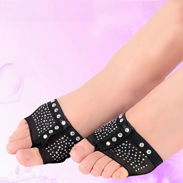 1 pair Belly Ballet Dance Bright drilling Toe Pad Practice Shoe Skin S
