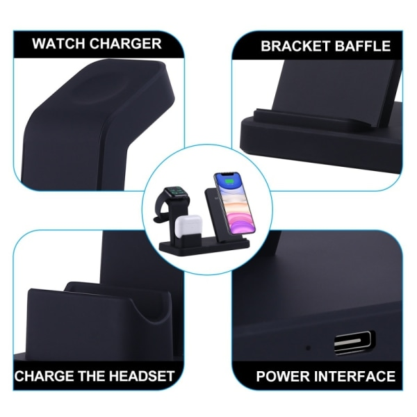 3 In 1 Wireless Charger Charging Station For Apple Watch Series Black