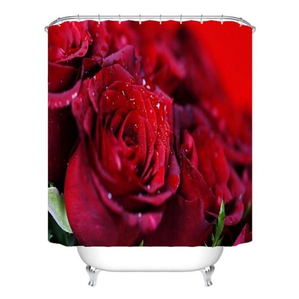 3D Digital Printing Hemdusch Romantisk Rose Vattentät Gardin