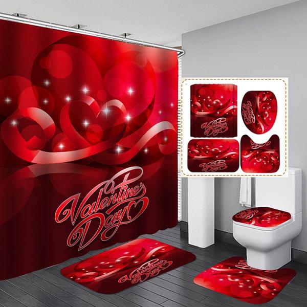 4 pcs/Set 3D Digital Printing Shower Curtain Bathroom Toilet Mat a