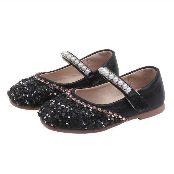 Autumn Kid Girl Soft Pu Leather Sole Shoes Anti-slip Sandals Black 24