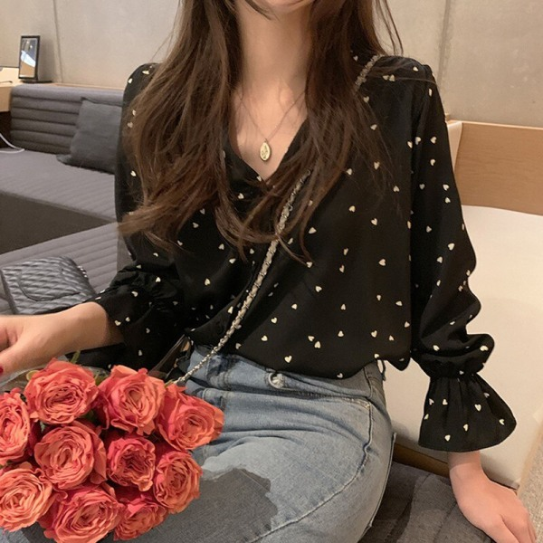 Autumn Sexy Blouse Women V-neck Loose Round Neck Blouses black one size