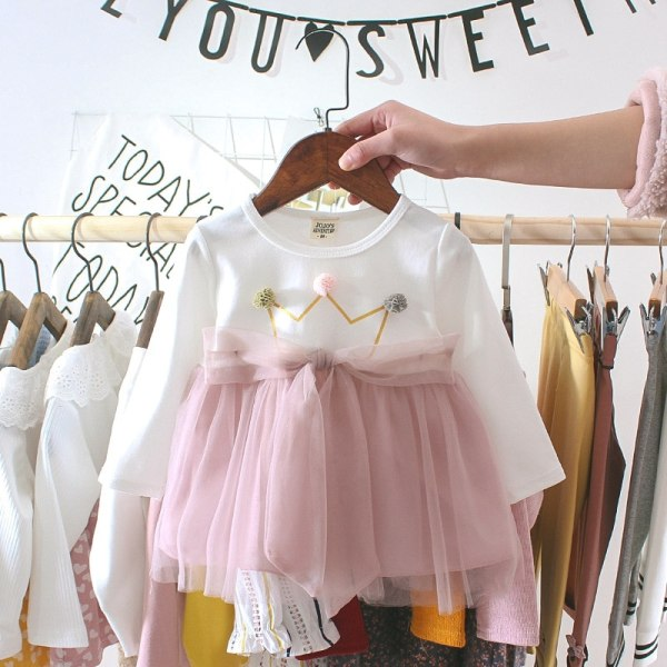 Autumn Summer Party Dresses For Girls Fashion Baby Girl Clothes pink 6M
