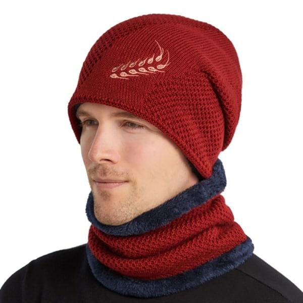 Höst vinter män stickad mössa hatt hals varmare huvudbonader