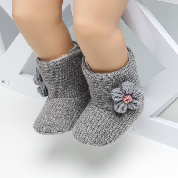 Baby Boot Plus Velvet Stickad ull Mjuk botten Småbarn Varm Boot
