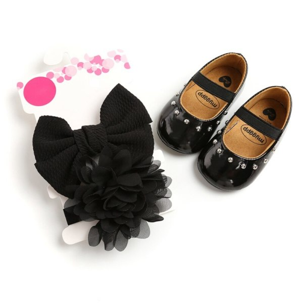 Baby Girl Rivet Sweet Princess Toddler Shoes + Hair Accessory black 13-18 months