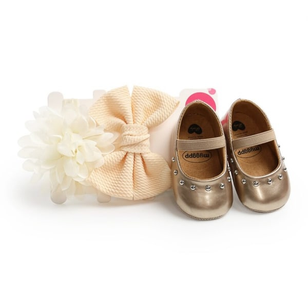 Baby Girl Rivet Sweet Princess Toddler Shoes + Hair Accessory gold 7-12 months