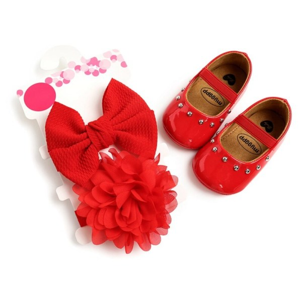 Baby Girl Rivet Sweet Princess Toddler Shoes + Hair Accessory red 7-12 months