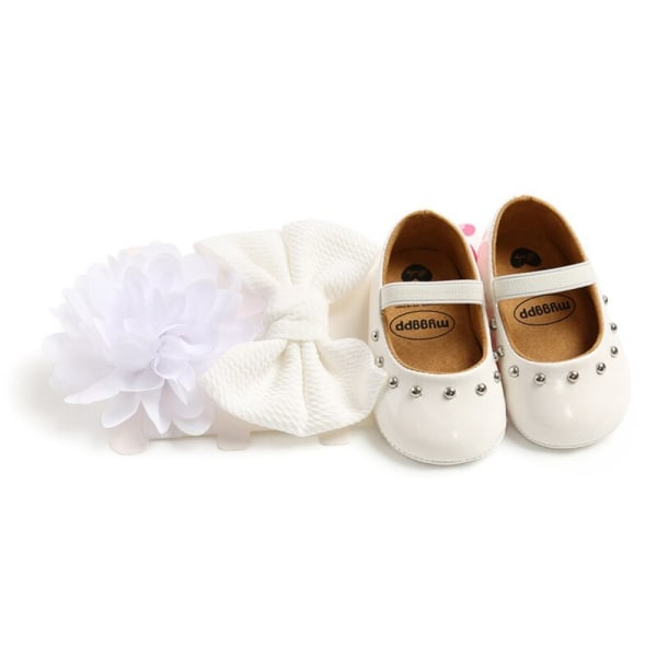 Baby Girl Rivet Sweet Princess Toddler Shoes + Hair Accessory white 7-12 months
