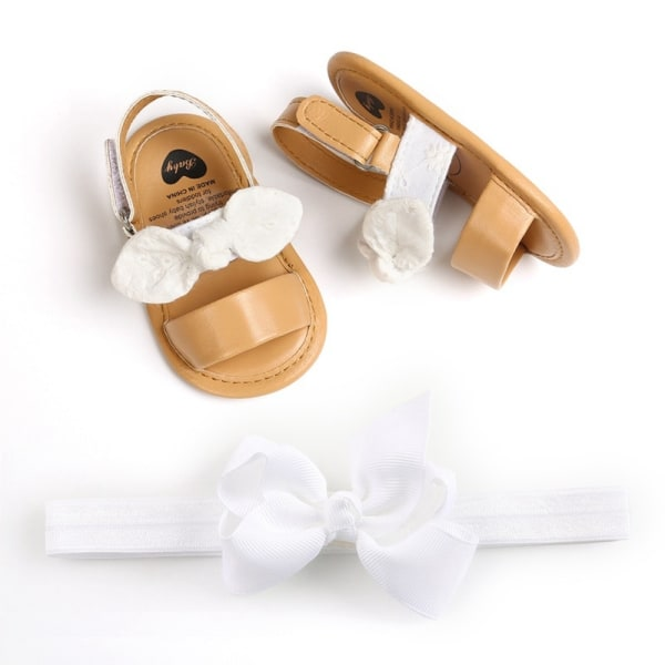 Baby Girls Bow Sandals PU Princess Soft Bottom Shoes Girls Baby white 0-6 months