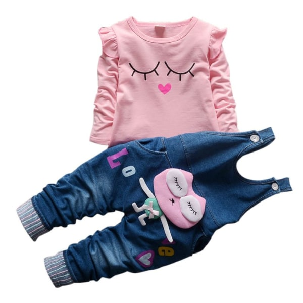 Baby Girls Set Kläder Kids Cartoon Printed Långärmad T-shirt