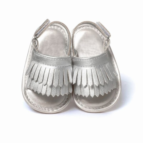 Baby Shoes Leather Tassel Soft Bottom Anti-slip Summer Shoes silver 0-6 months