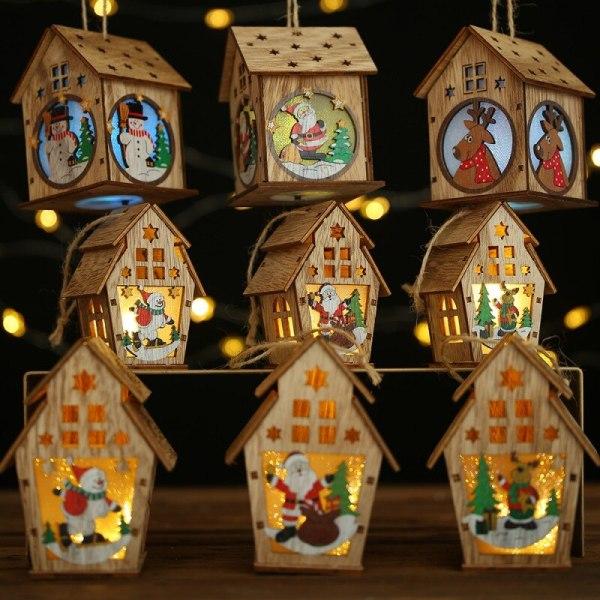 Christmas LED Light Wood House Christmas Tree Hanging Ornaments