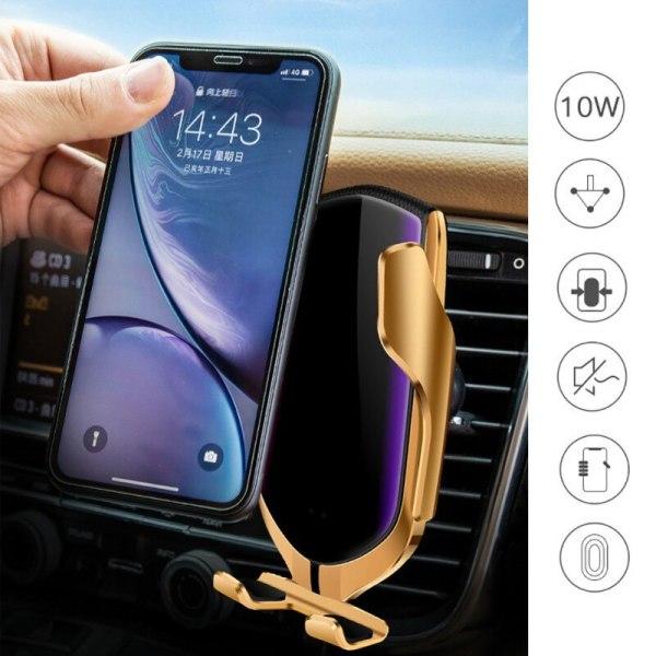 Klämma fast trådlös laddare bilhållare Smart infraröd sensor GPS