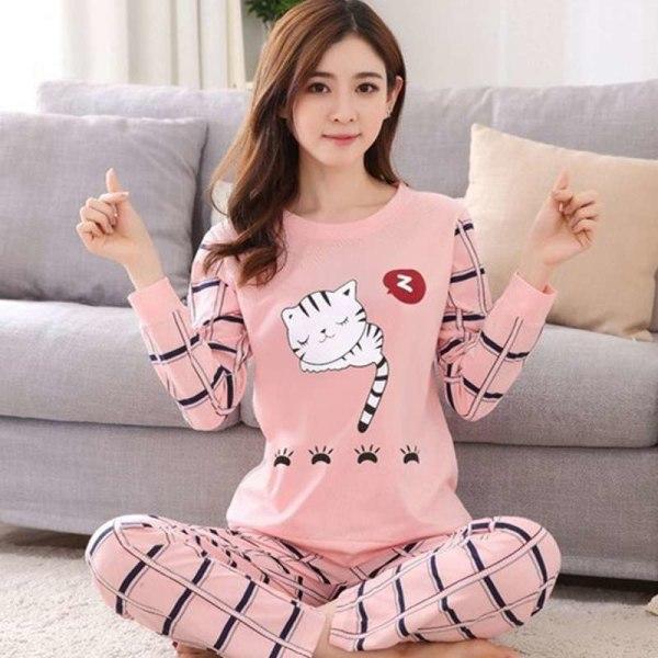 Fall Women Girl Long Sleeve O Neck Sleepwear Casual Homewear brick bear M