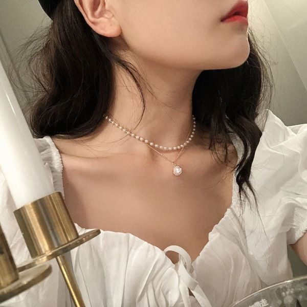 Mode Vintage dubbel pärla hänge nyckelbenet kvinnor halsband