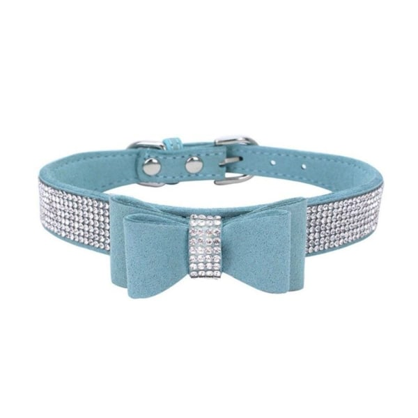 Full Rhinestone Soft Seude Leather Dog Bling Padded Bow Knot blue l