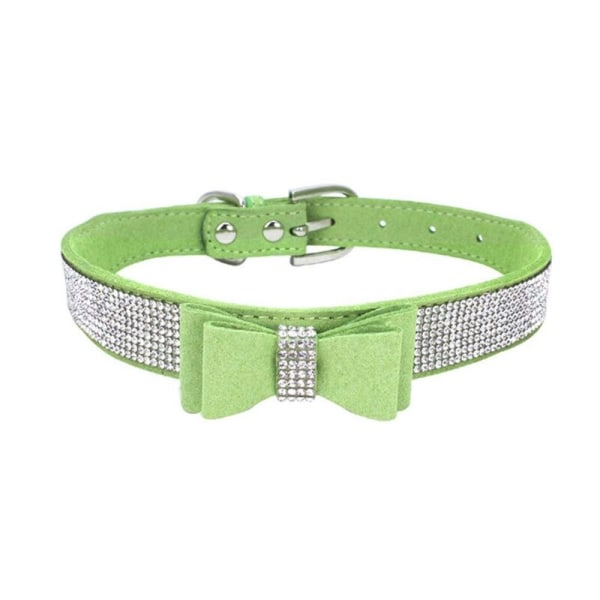 Full Rhinestone Soft Seude Leather Dog Bling Padded Bow Knot green s