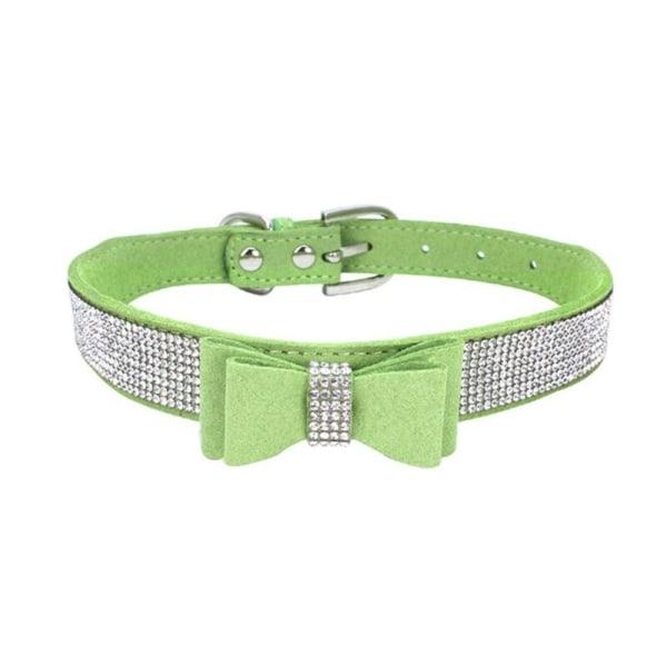 Full Rhinestone Soft Seude Leather Dog Bling Padded Bow Knot green xxs