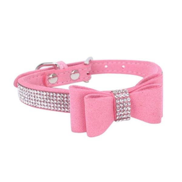 Full Rhinestone Soft Seude Leather Dog Bling Padded Bow Knot pink l