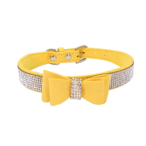 Full Rhinestone Soft Seude Leather Dog Bling Padded Bow Knot yellow s