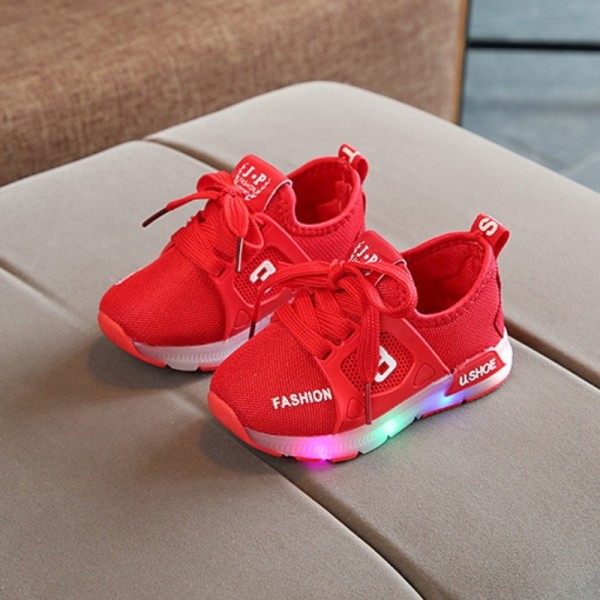 Glow Baby Shoes Fashion LED Baby Girl Shoes Sports red 21