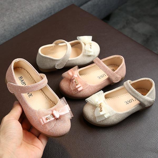 Kids Shoes Single Shoes Bow-knot PrincessChildren Flat Shoes gold 26