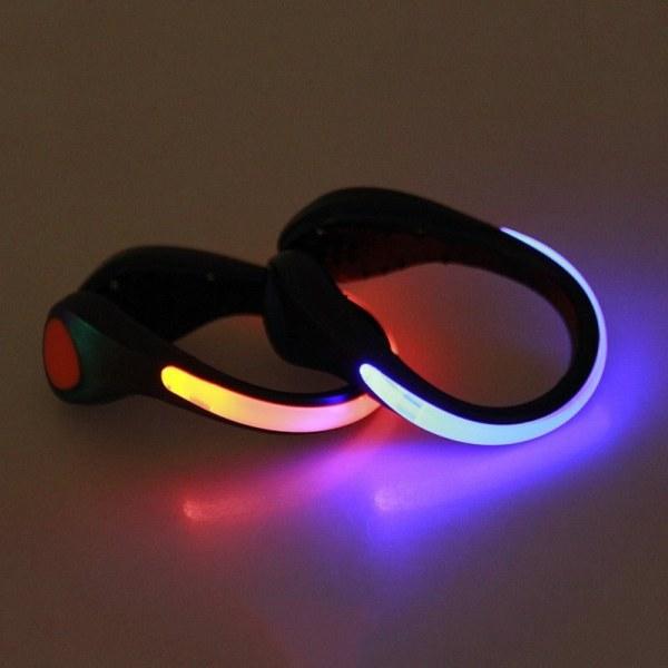 LED Luminous Shoe Clip Light Night Safety Warning Flash Light multicolor