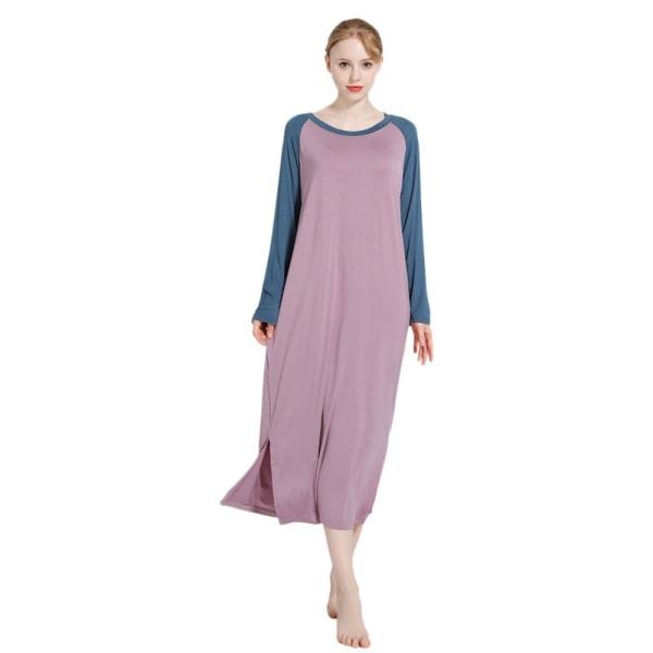 Lösa modala nattdräkt Gravida kvinnor plus fet långärmad klänning